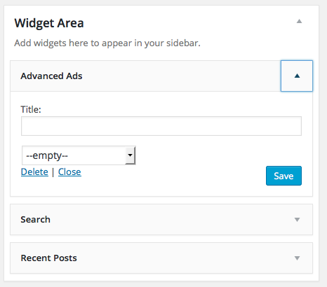 ad widget area in dashboard