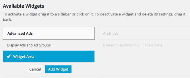 sidebar ad widget
