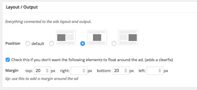 ad injection layout settings