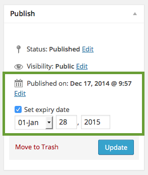 publish box with start and expiry date
