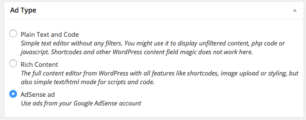 ad types with AdSense selected