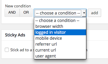 logged-in visitor condition