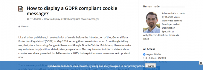 Cookie consent example