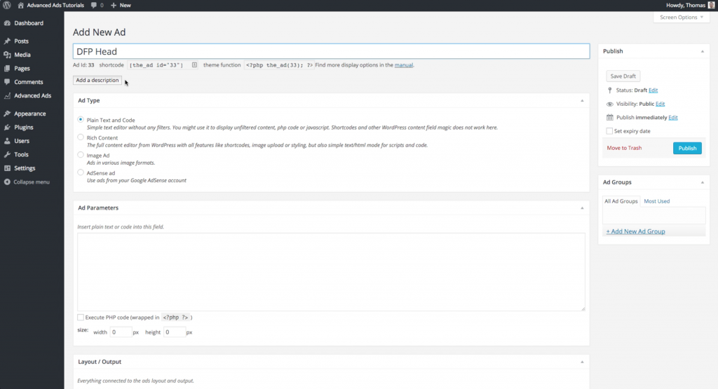 create DFP header code