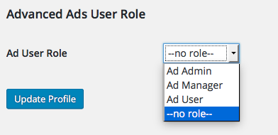 user role select field