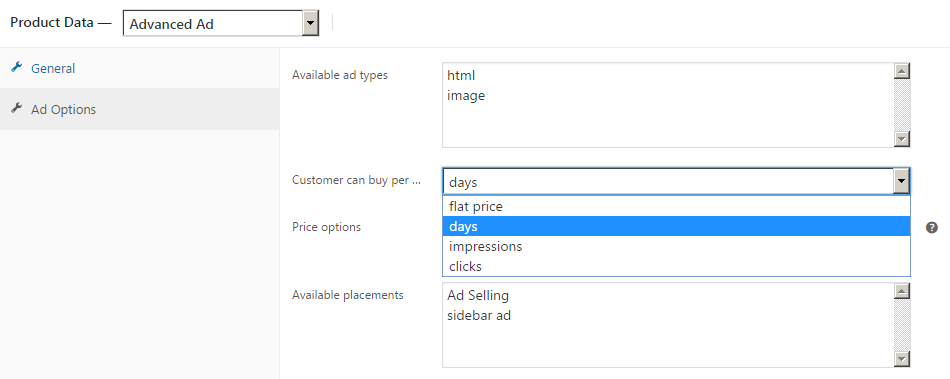 Option to sell ads per day