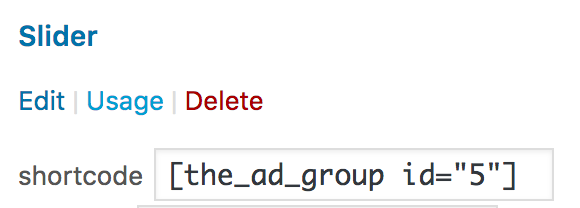 shortcode for an ad group
