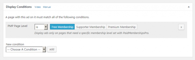 Display Condition for ads in Paid Memberships Pro