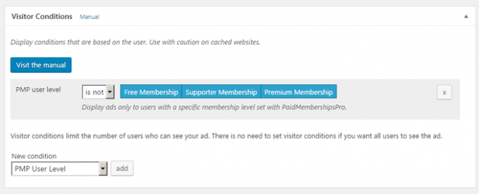 Visitor condition for ads on membership sites