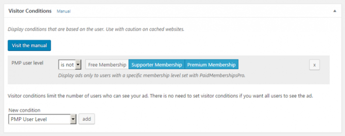 ads on WordPress sites with membership