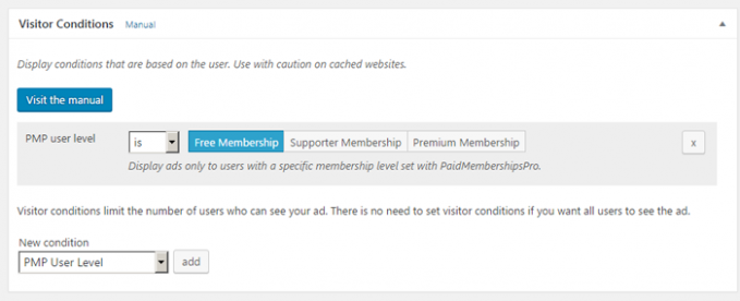 Visitor Condition to hide ads on Paid Membership Pro pages