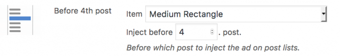 Settings for the post list placement in Advanced Ads