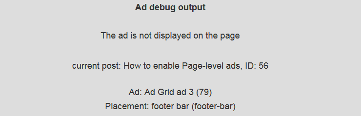 Advanced Ads debug mode output