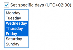 option to show ads on a specific day of the week only