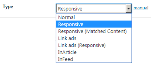 AdSense Types in Advanced Ads