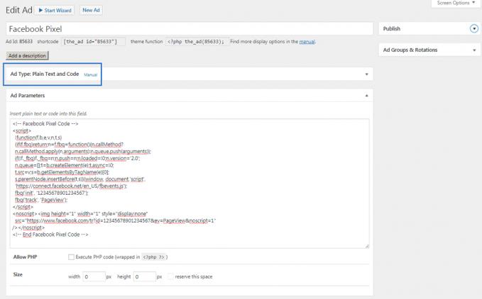 Add a facebook pixel to WordPress
