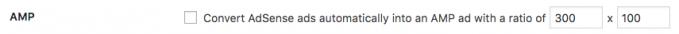AMP default size WordPress option