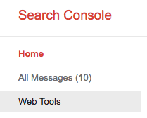 Search Console Web Tools item