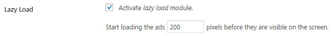 Activate Advanced Ads lazy load