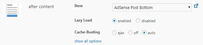 Advanced Ads Placement settings for lazy load