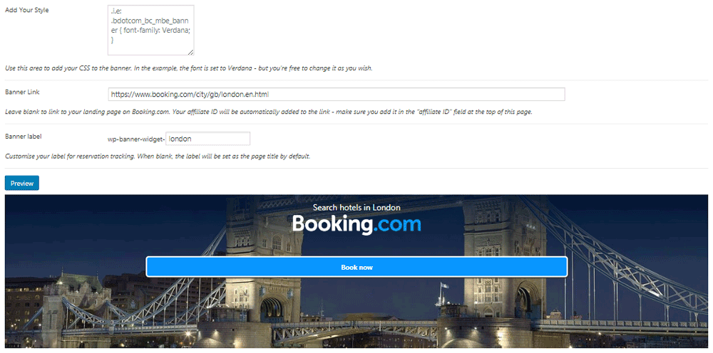 Create individual Booking.com ads with the Banner Creator plugin