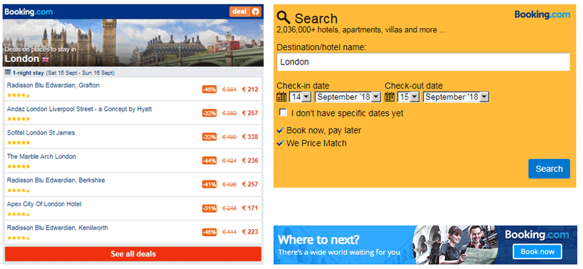 Examples of Booking.com ads