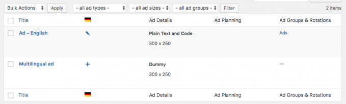 Ad list translated with WPML