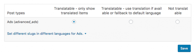 Options to make ads translatable in WPML