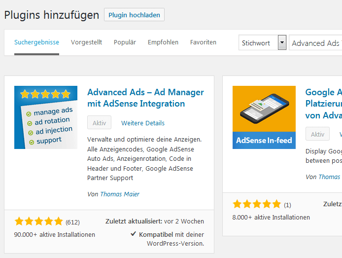 WordPress Advanced Ads installieren im Pluginmanager