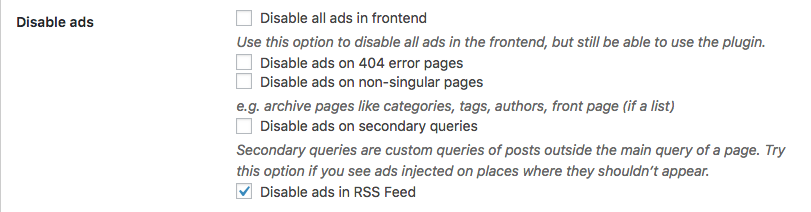 Disable ads with secondary queries disabled