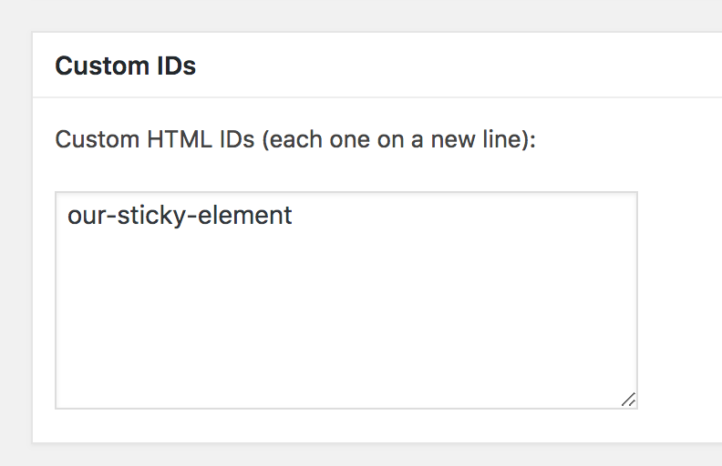 Custom IDs option in Fixed Widget for sticky element tutorial
