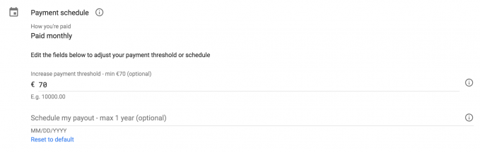 Google AdSense payment schedule settings