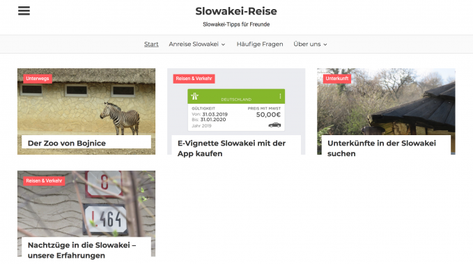 Screenshot of homepage of Slowakei-Reise.de