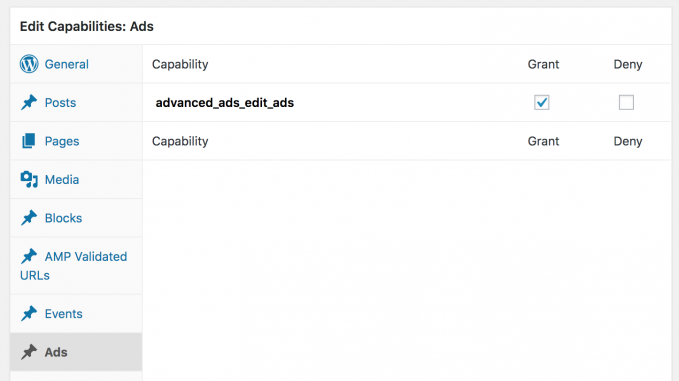 Advanced Ads capabilities in Ads group in Members plugin