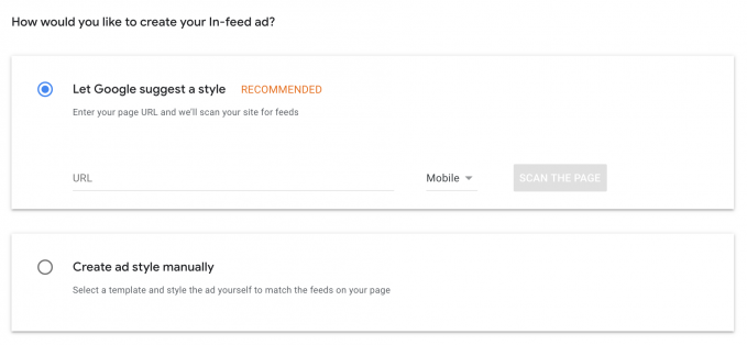 AdSense In-feed style options from the AdSense account.