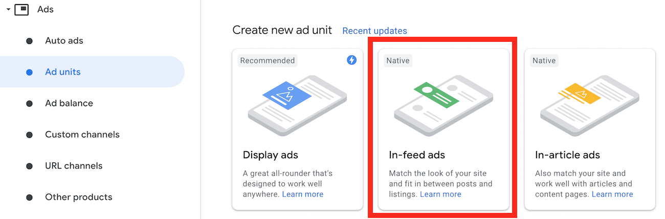 Ad unit page in the AdSense account with In-feed ads preselected