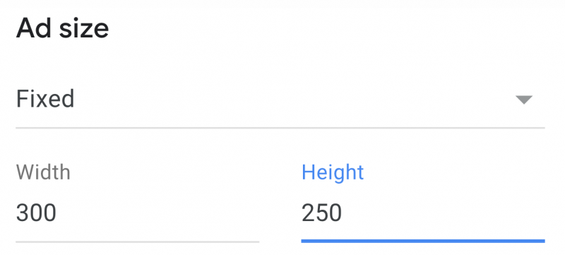 AdSense ad size option