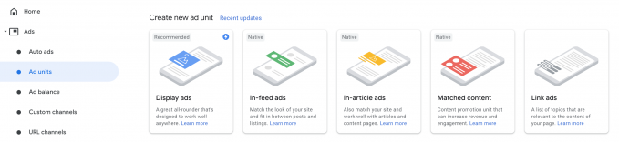 AdSense ad units with new ad unit section