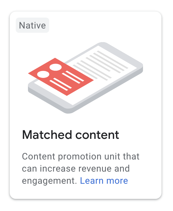 Icon of the Matched content ad unit in the AdSense account.