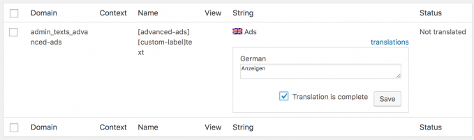 WPML string translations for Advanced Ads options