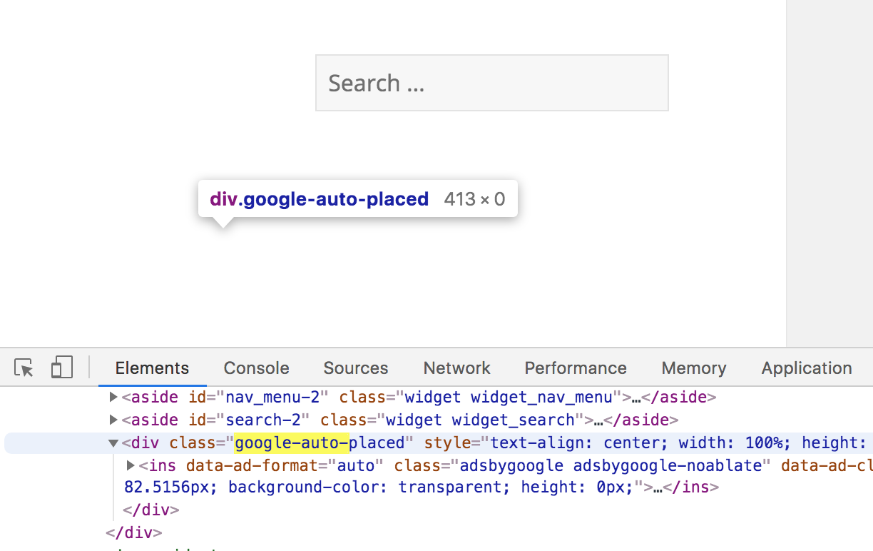 Highlighting code of Google auto placed ad