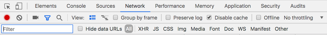 Chrome developer tools with caching disabled in the Network tab.
