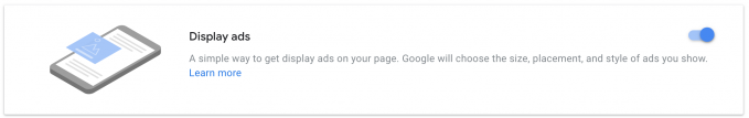 Display ads option in the Auto ads settings of the AdSense account.