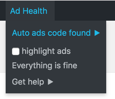 Ad Health showing that Google AdSense Auto ads are working