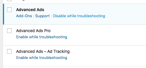 Screenshot of installed plugins with link to disable or enable them in Troubleshooting mode.