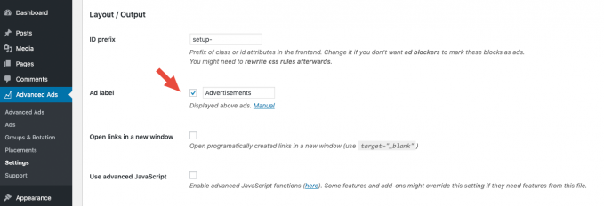 custom ad labels in advanced ads