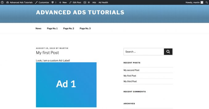 Customized Ad Label above your ad with Advanced Ads Pro
