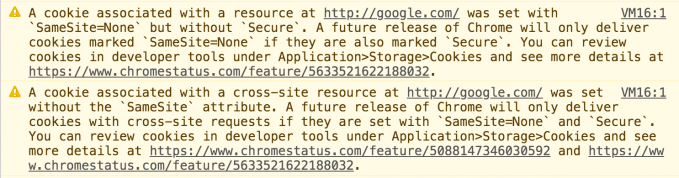 Warnings in the Chrome developer tools about cookies missing SameSite attributes.