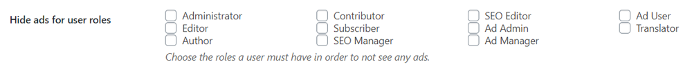 Disable ads for user roles