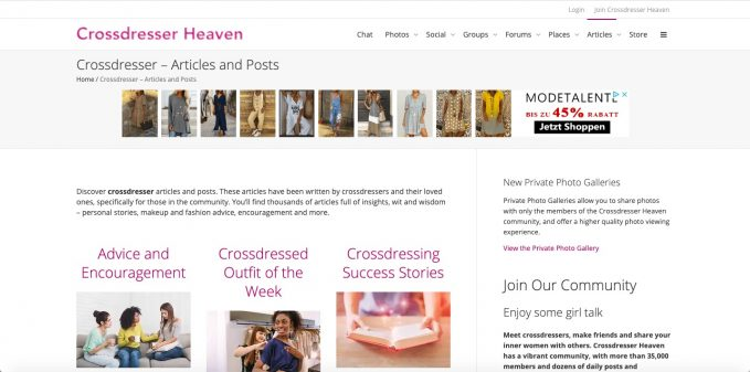 Crossdresserheaven.com is a good example for a monetized community website